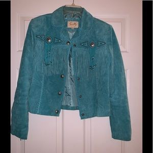 Blue fringe leather suede western jacket s Scully